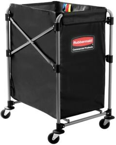 Rubbermaid Janitorial Cart 4 bushel Collapsible Wheels Stainless Steel Frame