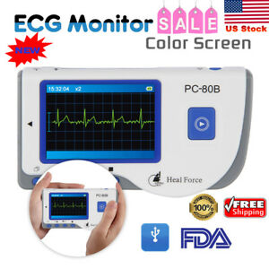 Heal Force Color Portable Ecg Machine Heart Rate Monitor Electrodes Software New