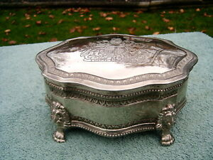 Vtg Silverplate Lion Head Paws Jewelry Trinket Box W Coat Of Arms Read F S