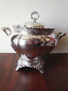 Early Webster Son Quadruple Plate Soup Tureen Floral Scroll Details