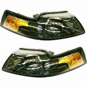 Halogen Headlight Set For 2001 2004 Ford Mustang Left Right W Bulbs Pair