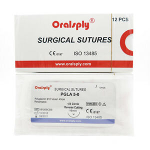 2 Boxes Pgla 5 0 polyglactin 910 Absorbable Sutures 1 2c Reverse Cutting 16mm