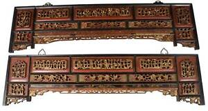 Antique Pair Of Chinese Carved Wall Panels Hanging Decorations Carved Painted