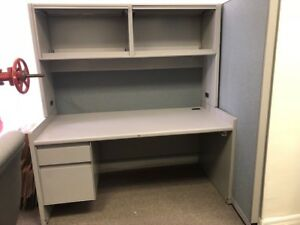 Single Pedestal Metal Desk With Hutch Cubical Wall