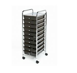 New 10 Black Drawers Metal Rolling Cart Scrapbook Supply Paper Storage Cart