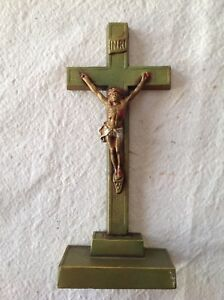 Vintage Metal Statue Crucifix Gold Colored And Painted Stamped C K Co