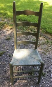 Antique Shaker Style Ladder Back Accent Chair Shabby Chic Painted