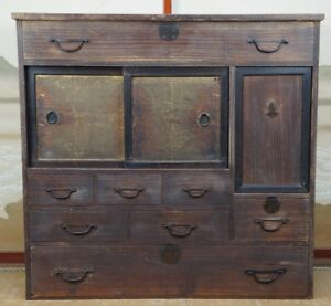 Antique Chadansu Japanese Furniture 1900s Japan Cabinet Tansu Craft