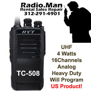 Hyt Tc 508 Uhf 450 470 Mhz 4 Watt 16ch Portable Radio Will Program Vx261 Cp200