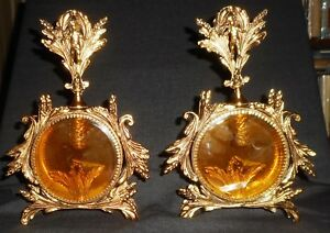Two Vintage Large Ornate Gold Ormolu Perfume Bottles Complete Flawless Cond