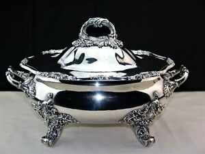 19th Century Blagden Hodgson Sheffield Plate Footed Silver Soup Tureen 11 Lbs