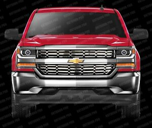 2017 2019 Chevy Silverado 1500 Grill Overlay Cover Inserts Chrome Grille Snap On