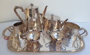 4 2piece Antique Silverplate Tea Service Set With Tray