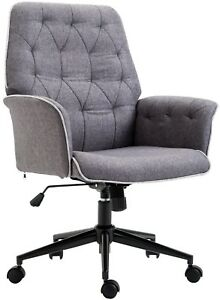 Office Chair Modern Low-Back Padded Cushion Durable Linen Fabric Upholstery Grey