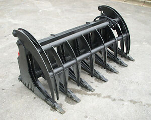 Bobcat Skid Steer Attachment 74 Root Rake Grapple Bucket With Teeth Free Ship