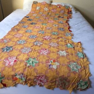 Antique Vtg Quilt Top Piece 6 Point Star Feed Sack Hand Stitched 85x33