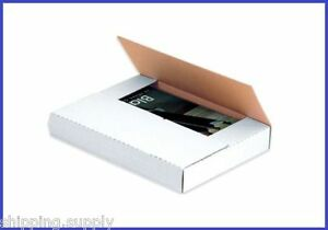 50 Count White Multi Depth Media Mailer Bookfold Book Shipping Box 21 Sizes