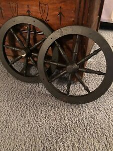 Vintage Pair Black Painted Wooden Wagon 14 Wheels
