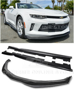T6 Style Front Splitter Carbon Side End Caps W Side Skirts For 16 18 Camaro Rs