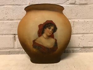 Antique Porcelain Portrait Vase With Brown Haired Woman Marked