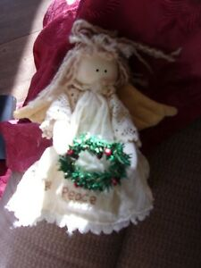 Christmas Angel Doll Decoration Primitive Country Girl Peace Wreath Figure