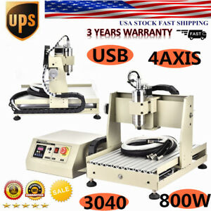 Usb 4 Axis 3040 Cnc Router Engraver Engraving Milling Machine 800w Vfd Ups Usa