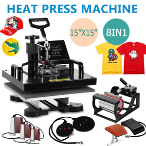 8 In 1 Transfer Sublimation T shirt Mug Hat Plate Cap Heat Press Machine 15 x15