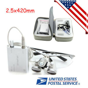 Dental Loupes 2 5x420mm Surgical Binocular Led Head Light Lamp Free Carry Case