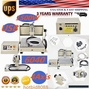 Usb 1500w 6040 4 Axis Cnc Engravaing Machine Metalworking Drilling Milling 1 5kw