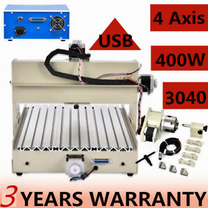 Ups 3040t Usb 4 Axis Cnc Router Engraving Milling Machine 400w Us Stock