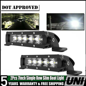 Pair Single Row Mini Bar Front Fog Lamp Jeep Chevy 7 Inch 30w Led Driving Light