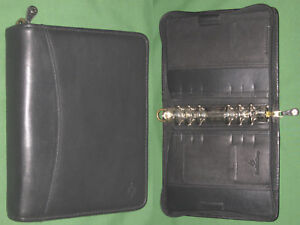 Compact 1 25 Black Full Grain Leather Franklin Covey Planner Binder 2060