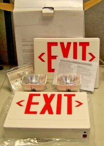 New Big Beam Led Exit Sign Emergency Light Combination 120 277 Vac Damp Loc