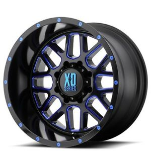 New 4 Off Road 18 Xd Wheels Xd820 Grenade Black Milled W Blue Accents