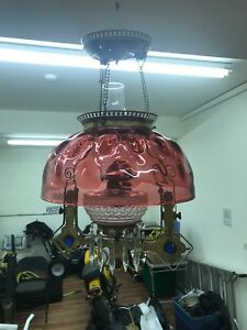 Victorian Cranberry Coin Dot Brass Jeweled Hanging Lamp Kerosene Oil Parlor