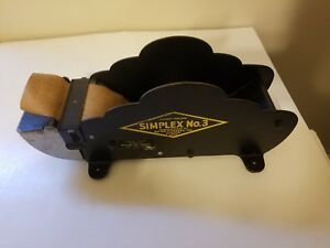 Vintage Simplex No 3 Tape Dispenser Better Packages Heavy Duty Wood Rollers