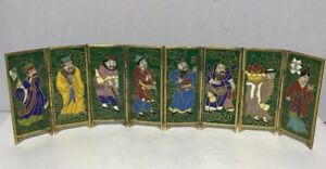 Vintage Miniature 8 Panel Cloisonne Enamel Screen Each Signed 2 5 X8 25