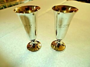 Vintage Pair Sterling Silver Cordial Cups Gorham Silver Co 1930
