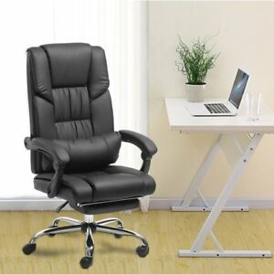 Executive Boss Soft Office Chair Adjustable High Back Footrest Leather Armchair