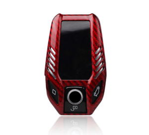 Red Real Carbon Fiber Key Fob Case Cover Keychain For Bmw 5 7 Series I8 G11 G12