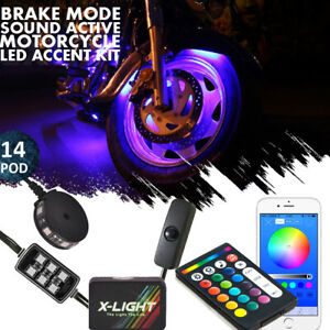 Led Motorcycle Neon Glow Accent Kit 84 Lights 14 Pods W brake Mode Music Mode