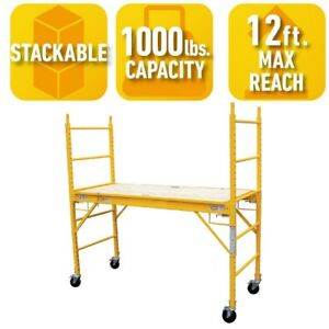 Scaffolding Multipurpose 6inch Wheels Functional Ladder Durable Portable Home