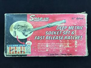 Vintage New 212 Sfmp 3 8 12 Point Metric Deep Socket Set Fast Release Ratchet