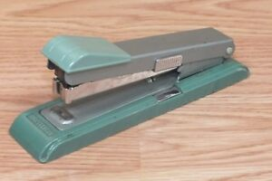 Genuine Vintage Bostitch Green Grey Office Stapler With Side Remover read