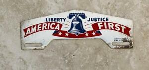 Liberty Justice America First Vintage Automotive License Plate Topper Original