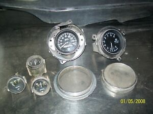 Stewart Warner Sw Speedometer 9k Tachometer And 3 Other Gauges Vintage Rat Rod