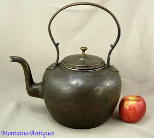 Early Antique Brass Gooseneck Kettle Southern 19th Cent