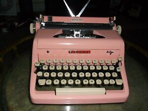 Antique Authentic 1950s Bubblegum Pink Royal Manual Portable Typewriter Mint