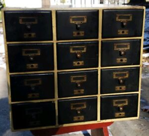Vintage Hardwood Dovetail Industrial Drawer Small Parts Hardware Cabinet