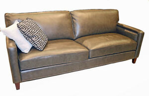 Art Deco Style Sofa Couch Pewter Gray Top Grain Leather Restoration Style New